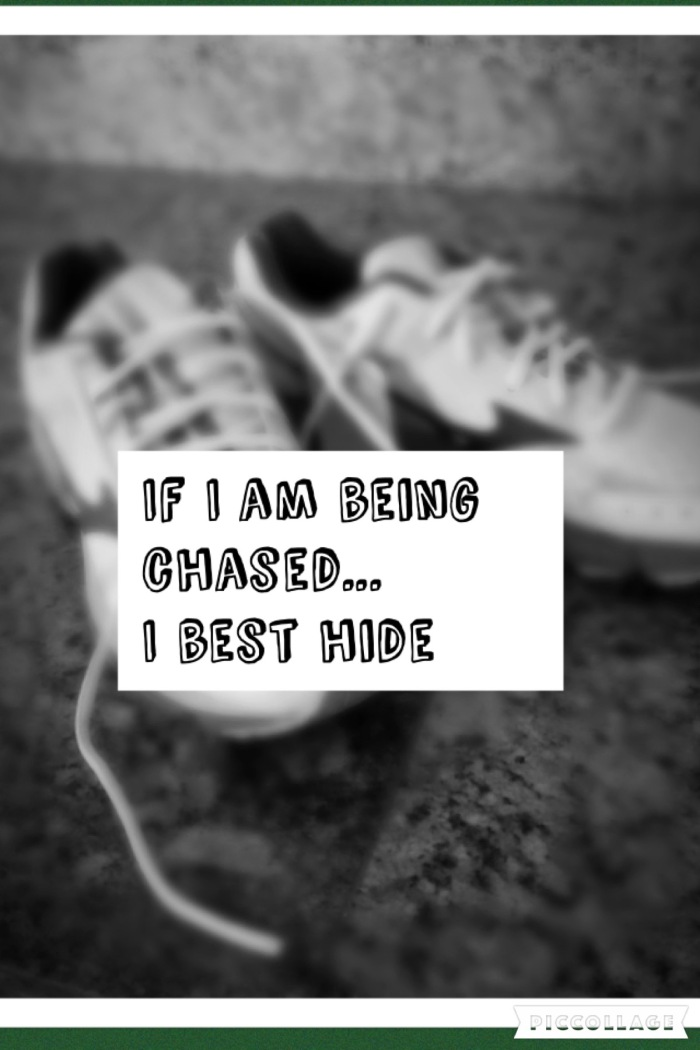 If I am being chased…I best hide