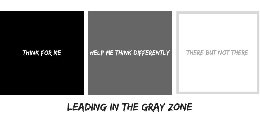 "Three zones. The ""think for me"" zone, the ""help me think differently"" zone, and the ""there but not there"" zone."